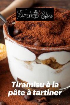 Découvrez notre recette de tiramisu à la pâte à tartiner ! Cereal, Pudding, Breakfast, Food, Light Desserts, Skimmed Milk, Morning Coffee, Custard Pudding, Essen