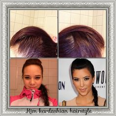 Kim kardashion hairstyle. Edgy look, can use as everyday look or for a party look.