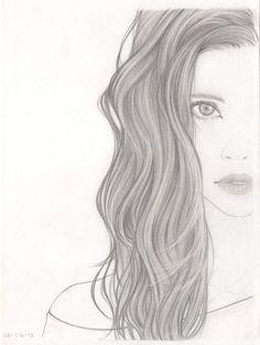 удивительно, красивые глаза, рисунок, девушка, губы, длинные волосы, карандаш, чёрное и белое