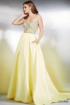 Strapless Yellow Ballgown 24158