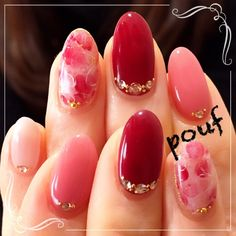 pretty pink and red nails Love Nails, Pink Nails, Pretty Nails, Nail Art Designs, Japanese Nail Art, Bridal Nails, Beautiful Nail Designs, Nagel Gel, Creative Nails