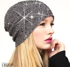Swarovski crystal and ribbed cashmere hat bc13d3b663d