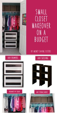 m finally finished creating a boys & girl?s shared space in my home! I will be revealing all the makeover goodness each day this week!m going to start off by showing the closet transformation! To say that Saylor? Closet Bedroom, Closet Space, Girls Bedroom, Tiny Closet, Shared Closet, Dorm Closet, Bedrooms, Small Rooms, Small Spaces