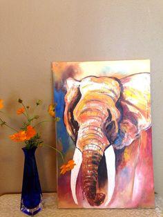 This breathtaking original acrylic painting of an elephant is by Ugandan artist, Davis Muwumba.