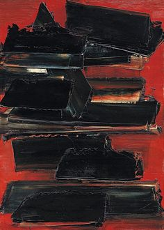 The Work of Pierre Soulages Abstract Expressionism, Abstract Art, Abstract Paintings, Art Pierre, Red Art, Art Moderne, Art Abstrait, Contemporary Paintings, Oeuvre D'art