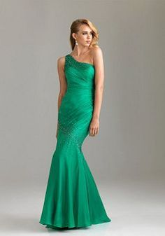 Luxury Chiffon Fit N Flare Spring & Summer One Shoulder Brush Train Evening Party Gowns