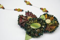 On Sale Beaded Necklace with Fabric Flower  - Batik Soft Sculpture Flowers Green Brown (20.00 USD) by PaintFabricWhimsy