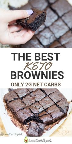The best keto brownies made with almond flour. A serving has only 2g net carbs, and it's super dense, creamy, gooey and delicious. It's the perfect cure for a sweet tooth on the ketogenic diet. #ketodessert #ketobrownies #ketobrownie #lowcarb