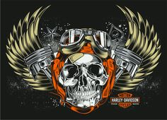 """Skull & Pistons - Harley Davidson"" by David Vicente"