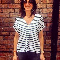 Simple stripe top with flattering pleat @twistandtango with funky @toolallyjewels 😍  #stripeshirt #casualstyle #funkyearrings #toolallyjewellery #statement #sprinstyle #twistandtango #casualstyle #shopnow #shoplocal #kiticymru #pontcanna #cardiff