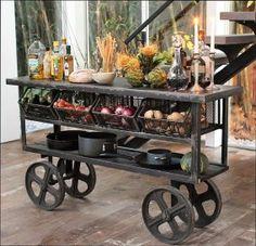 Industrial kitchen with storage Industrial Bar Cart, Industrial Furniture, Kitchen Furniture, Rustic Furniture, Kitchen Decor, Country Kitchen Island, Industrial Kitchen Island, Portable Kitchen Island, Kitchen Small