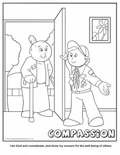 Compassion Coloring Page.  A Cub Scouting Core Value.