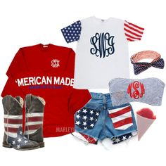 **4th Of July outfit!** Marleylilly.com Monogrammed 'Merican Made Spirit Football Jersey, Monogrammed Bathing Suit Bandeau Tube Top and Monogrammed American Flag Short Sleeve T-Shirt by marleylilly on Polyvore featuring Charlotte Russe and Roper Kids