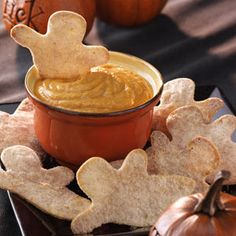 Goblins with Pumpkin Dip ~♥ #halloween #recipes