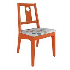 Cadeira Oriente com Assento Estofado Estrutura em MDF e Encosto em Madeira Maciça Pinus Cor Laranja - Linha Happy