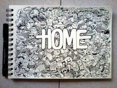DOODLE ART: HOME by kerbyrosanes on deviantART, would love to do this for my room