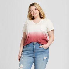 af7f2aafa67 Women s Plus Size Monterey Pocket V-Neck Short Sleeve T-Shirt - Universal  Thread™ Pink Dip Dye
