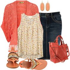 A fashion look from June 2013 featuring silk shirt, red top and blue skirts. Browse and shop related looks. Jean Skirt Outfits, Modest Outfits, Modest Fashion, Casual Outfits, Fashion Outfits, Jean Skirts, Blue Skirts, Apostolic Fashion, Midi Skirts