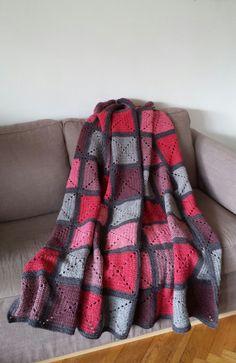 Plaid grannies carrés crochet pure laine : Textiles et tapis par…