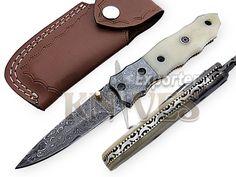 Knives Exporter Custom New Damascus Steel Folding Knife Camel Bone Handle KE-F47 #KnivesExporter