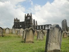 Whitby Abbey - Northern England. I sat on a bench next to this cemetary writing in my journal. It is high up on a cliff overlooking the North Sea. My youth hostel was up on the cliff as well in a converted stable that once belonged to the abbey. Supposedly Bram Stoker wrote Dracula here.