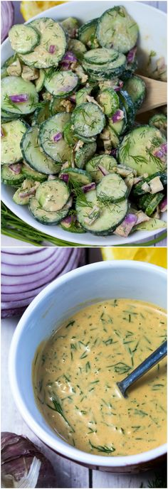 #Vegan Creamy Cucumber Salad made with fresh dill and a homemade Creamy Ranch Dressing. #BBQ #Summer