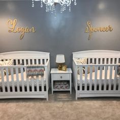 Layout for where i want to place the lettering and flowers. Small Twin Nursery, Twin Baby Rooms, Twin Room, Baby Bedroom, Twin Babies, Baby Cribs, Zoo Nursery, Nursery Twins, Nautical Nursery
