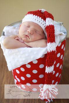Newborn Baby Christmas Photo Prop Galvanized Bucket Red and White Quarter Dot. $28.00, via Etsy.