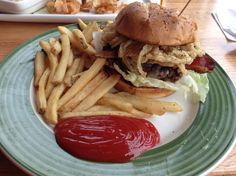 This is the Cowboy burger at Applebee's. It's very good. I suggest getting it on Mondays when the burgers are $5.99. :)