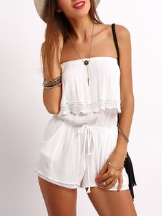 Cheap sleeveless romper, Buy Quality strapless romper white directly from China rompers rompers Suppliers: COLROVIE 2017 New Arrivals Beach Wear Solid Playsuits Hot Sale Cheap White Strapless Ruffle Drawstring Sleeveless Romper Trendy Summer Outfits, Spring Outfits, Outfit Summer, Mode Rockabilly, Strapless Jumpsuit, Ruffle Jumpsuit, Playsuit Romper, White Jumpsuit, Ruffle Romper