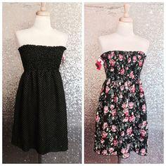bd7a834c8a1 Xhilaration dress Reversible Polka Dot Floral Smock Strapless Tube Medium M  NWT