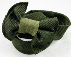 Great idea! Headband from repurposed mens tie silk olive green