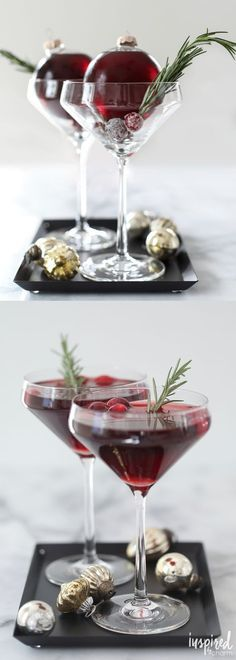 A holiday cocktail served in a christmas ornament! It's an Ornamentini! Very Merry Ornamentini via Inspired by Charm