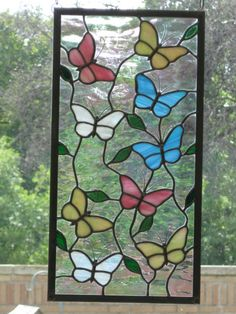 Butterflies Stained Glass Panel by DianeRinebold on Etsy, $140.00