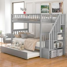 This bunk bed anchors your little one's bedroom in a simple, thoughtful style with this bunk bed with trundle. Crafted of solid wood, this bunk bed strikes a classic silhouette with planked panel headboards and footboards, while the top bunk includes a matching guard rail. This bed can actually allow 3 children to share together. It includes a system of wood slats to prop up your preferred mattresses without the help of a box spring. A trundle bed below included offers an additional spot to snoo Solid Wood Bunk Beds, Bunk Beds With Stairs, Modern Bunk Beds, Staircase Bunk Bed, Ikea Bunk Bed, Custom Bunk Beds, Bunk Bed With Trundle, Full Bunk Beds, Small Spaces