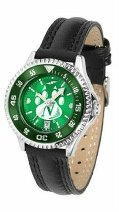 Northwest Missouri State Bearcats NCAA Womens Leather Anochrome Watch by SunTime. $79.95. Showcase the hottest design in watches today! A functional rotating bezel is color-coordinated to compliment your favorite team logo. A durable long-lasting combination nylon/leather strap together with a date calendar round out this best-selling timepiece.The AnoChrome dial option increases the visual impact of any watch with a stunning radial reflection similar to that of the underside...