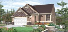 The master suite and public living areas are all on the main level of this charming cottage plan, designed to take full advantage of a narrow, sloping lot. Luxury House Plans, Best House Plans, Dream House Plans, Small House Plans, Bungalow Floor Plans, Craftsman Floor Plans, House Floor Plans, Craftsman Homes, Traditional Style Homes