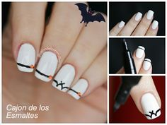Easy halloween nail art tutorial - Bats