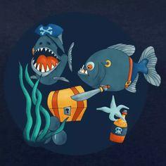 nobelbunte Bio-Mode | pirate piranhas - Frauen Bio-Sweatshirt von Stanley & Stella -  Arr, das ist mein Schatz! Und diese Menschenbeine gehören auch mir! Recycling, Ocean Art, Sea Creatures, Bunt, Nautical, Stationery, Graphic Design, Illustrations, Artist