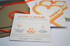 ekologiczne zaproszenia z pomarańczowym sercem