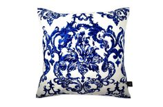 厚地コットンにブルーダマスク柄のプリントがモダンなヴィンテージクッション #cushion #cushioncover #クッション #クッションカバー #ヴィンテージ #アンティーク #vintage