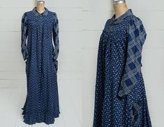 Antique 1880 Calico Dress Indigo Blue Cotton Full Length