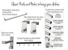 Closet Rods and Hooks to Hang your Clothes