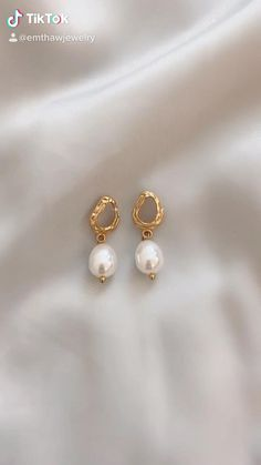 Currently on sale for $25 + Free U.S. Shipping! #goldearrings #goldjewelry #pearlearring #pearls #flatlay #jewelrydesigner #sustainablefashion #nyc #daintyjewelry #jewelrytrends #goldaccents #smallbusiness #shopsmall Ear Jewelry, Dainty Jewelry, Gold Jewelry, Beaded Jewelry, Jewelery, Gold Bangles Design, Gold Earrings Designs, Jewelry Design, Wood Plastic