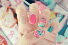 Tribal print nail art for summer and spring c: