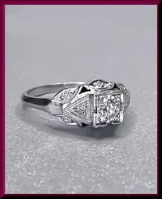 Antique Vintage Platinum Art Deco Old European Cut Diamond Engagement Riing by AntiqueJewelryNyc on Etsy