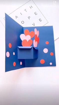 Create your own fun Heart Card! Perfect for Mother's Day! Learn how today. basteln neuheiten Watch How To Make An Easy Heart Pop Up Cards For Your Loved One Cool Paper Crafts, Paper Crafts Origami, Fun Crafts, Diy Paper, Paper Flowers Craft, Diy Crafts Hacks, Diy Crafts For Gifts, Creative Crafts, Diy For Kids