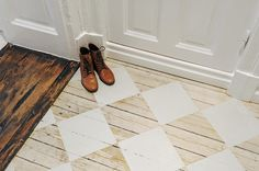 wooden floor with white diamonds - yes please