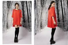vestido de gasa rojo suelto corto con mangas invierno 2015 - Penny Love