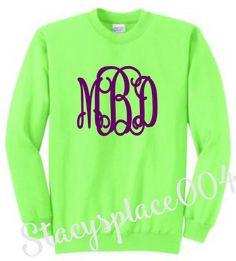 monogrammed sweater, monogrammed sweatshirt, monogrammed shirt, personalized sweater, neon green sweater